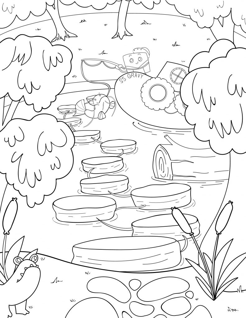 Waffle Smash coloring page of Biscuit Bayou