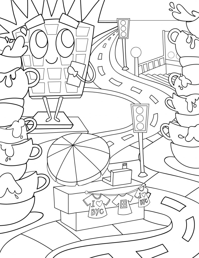 Waffle Smash coloring page of Brew York City
