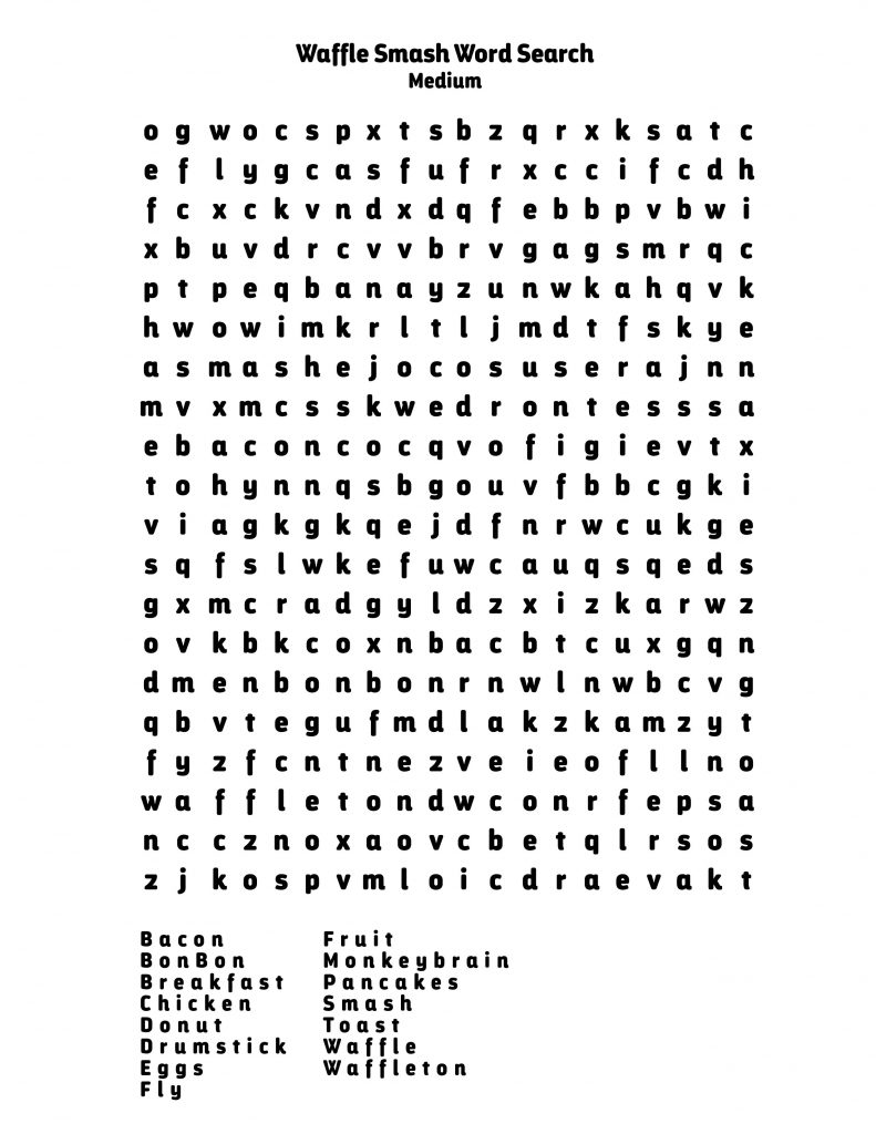 Waffle Smash Word Search Medium