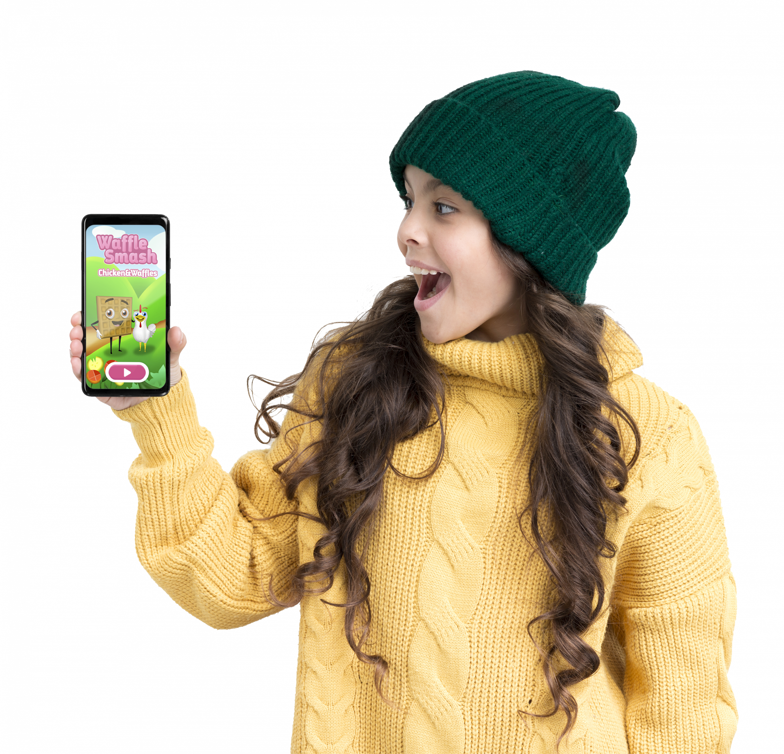 Girl holding a phone with Waffle Smash playing